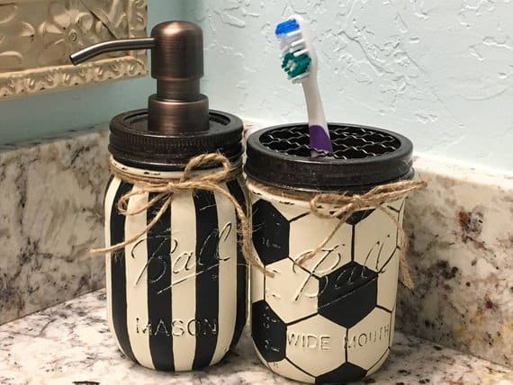 Sports-themed soap dispenser and toothbrush