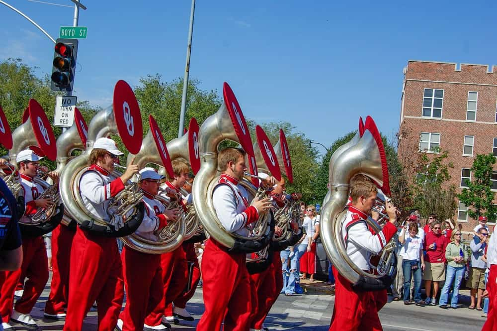Marching band playing sousaphone.