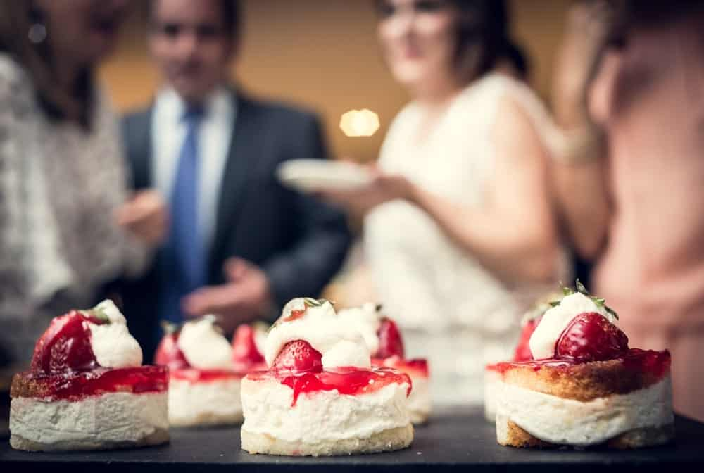 Strawberry shortcakes on a wedding ceremony.