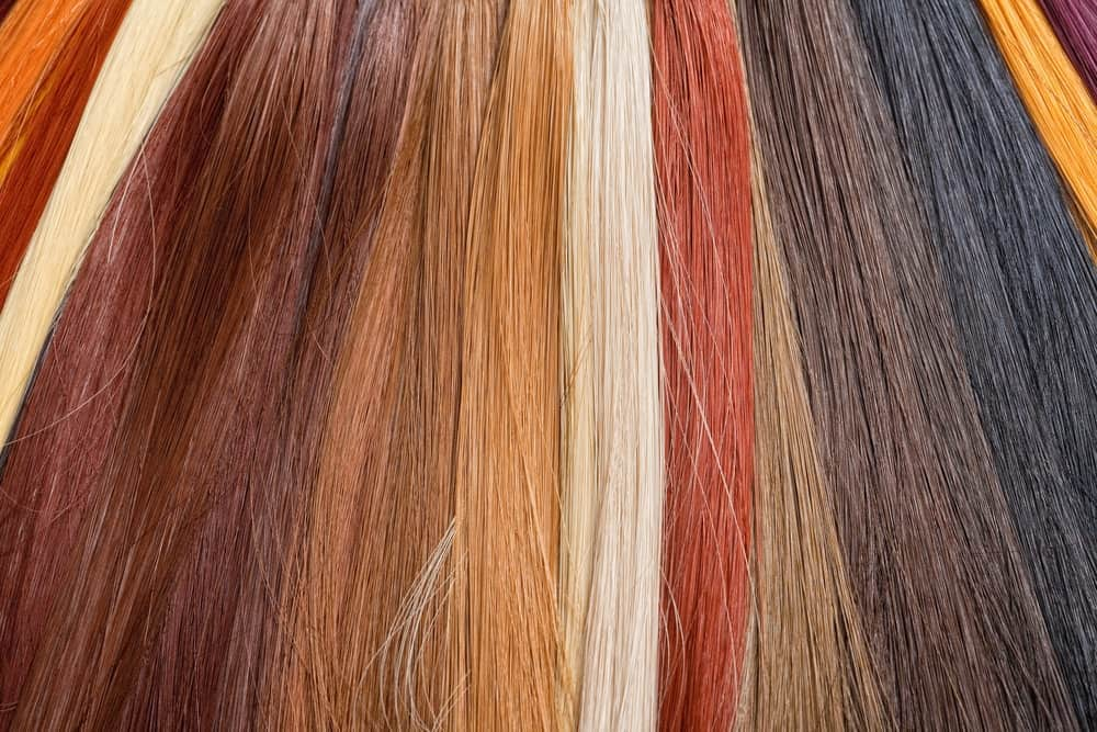 Different colors of synthetic hair used for wigs.
