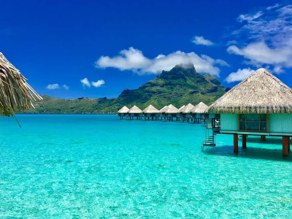 Huts on stilts in Bora Bora, Tahiti