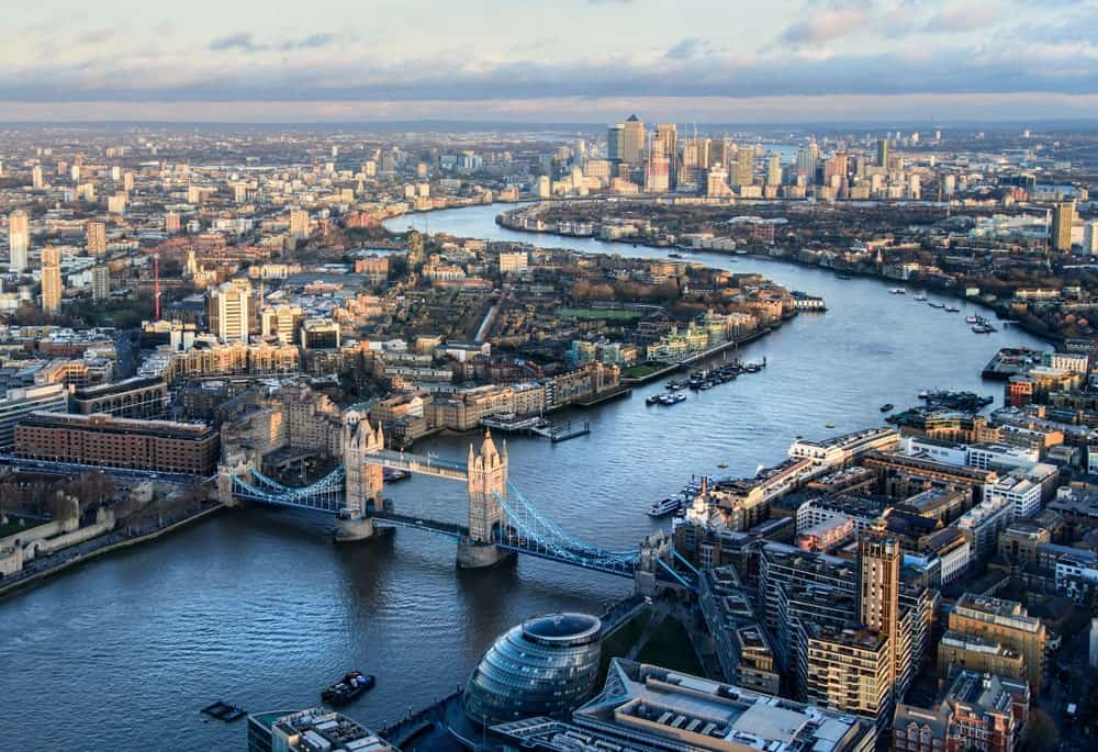 Aerial view of London's Thames River.