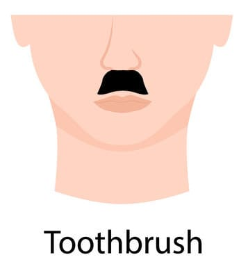 Toothbrush style moustache