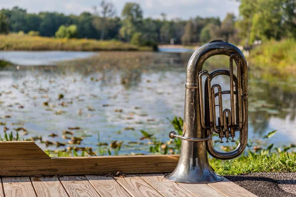 Upright tuba on a wooden surface near a body of water.