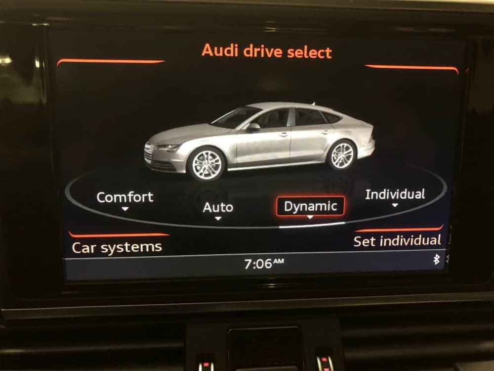 Audi A7 menu for different drive types