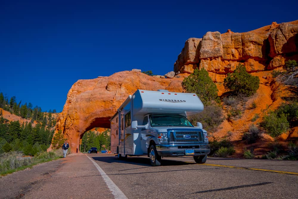 Motorhome on highway going through Bryce Canyon in the USA