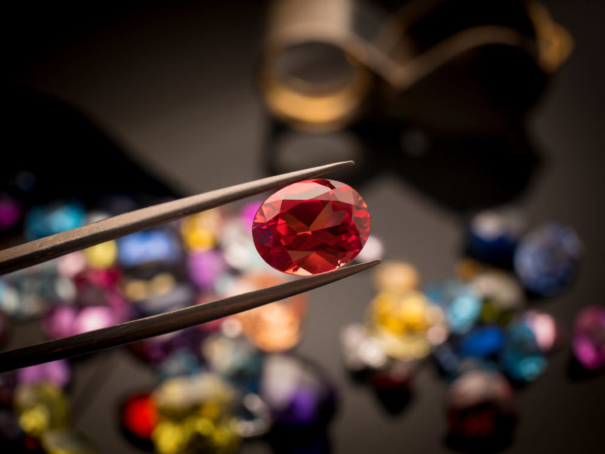 Ruby gem up close held for inspection