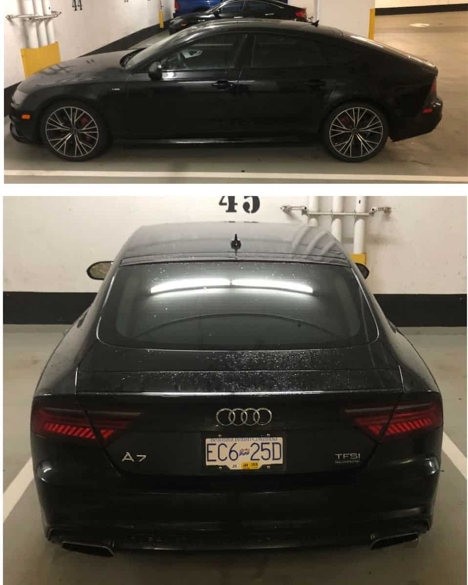 Side and rear view of black 2017 Audi A7