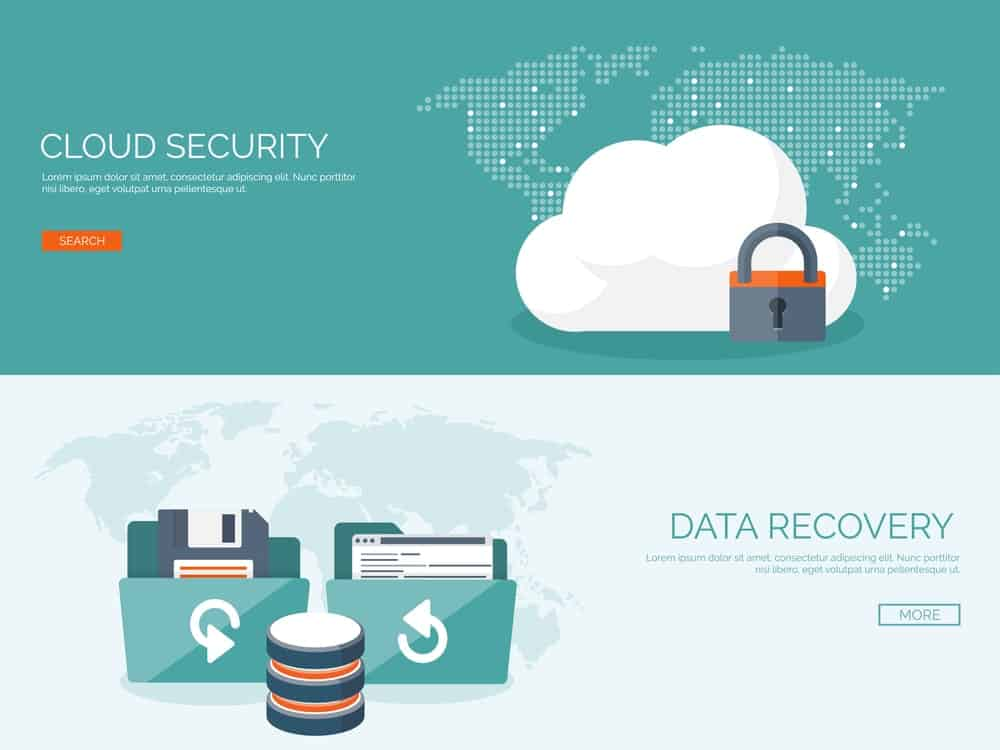 Concept for data backup featuring cloud security and data recovery.