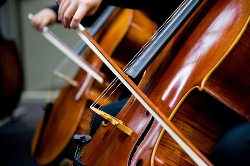Closeup of a cello bow during an orchestra practice
