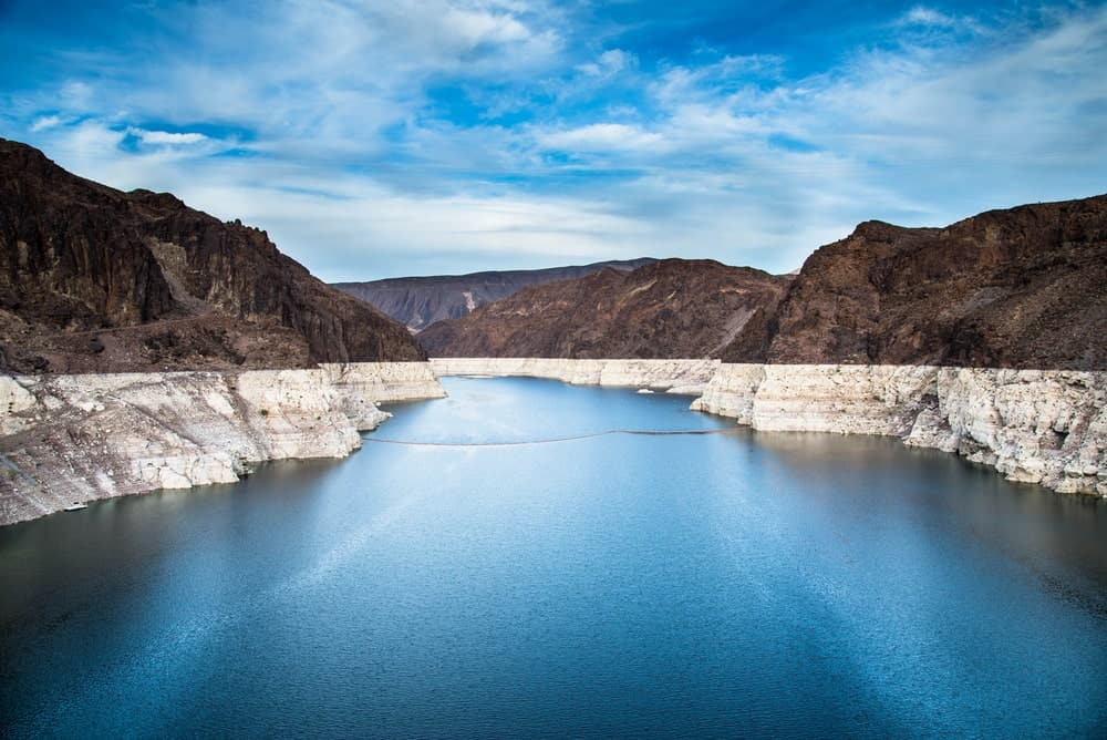 Hoover dam and Lake Mead.
