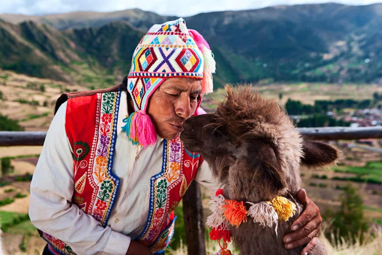 Peruvian man kissing a llama.