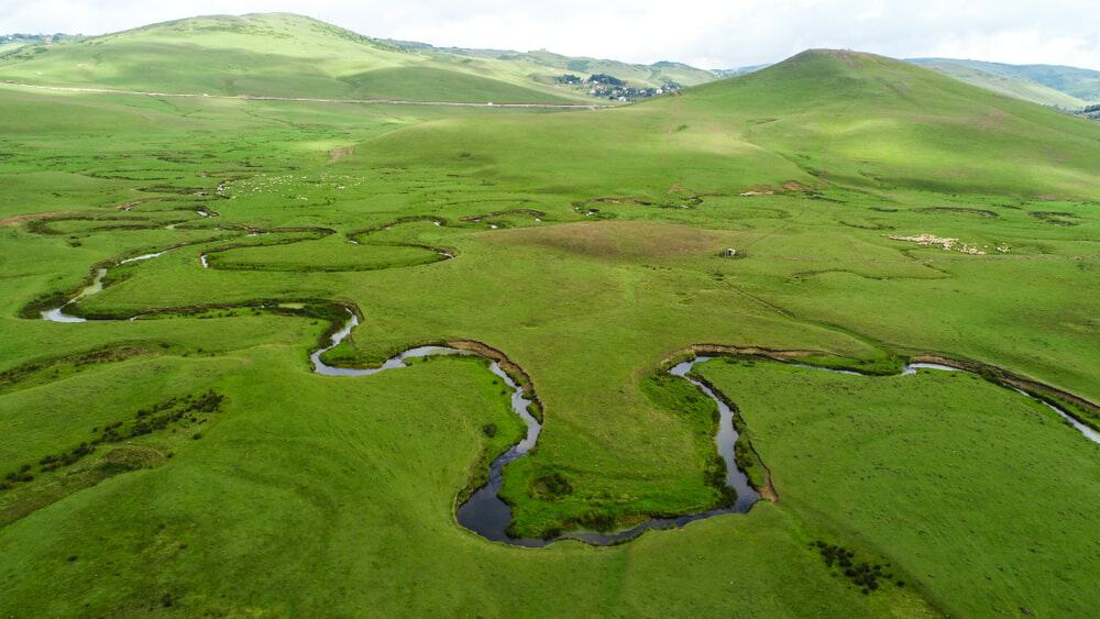 Meandering river at the Persembe Plateau in Turkey.