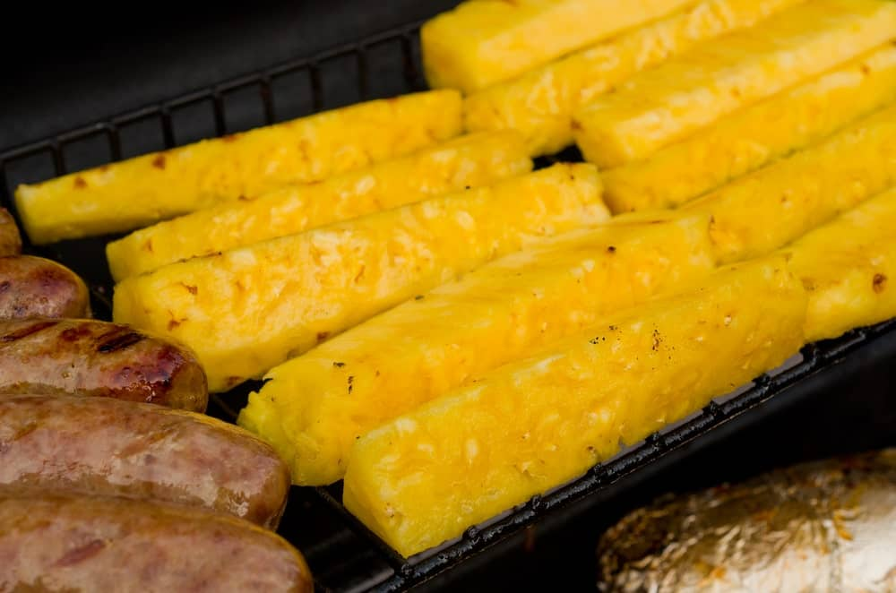 Pineapple spears on grill