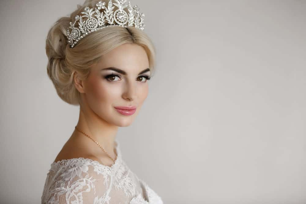A bride wearing a tiara.