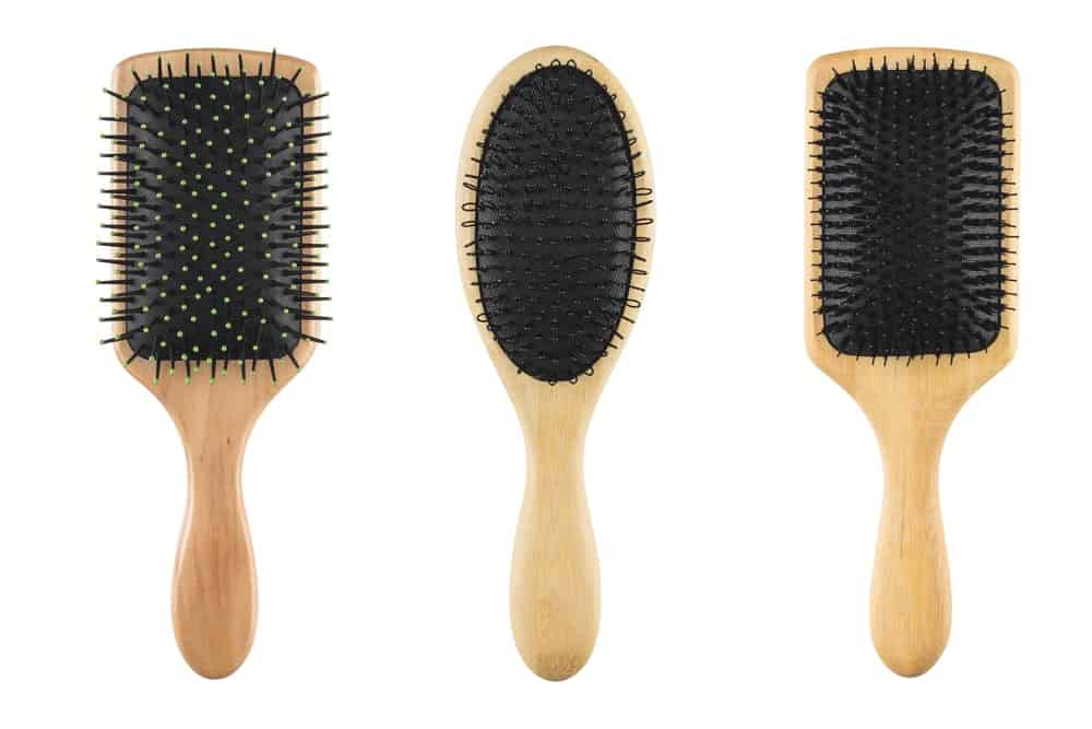 A set of wooden hairbrushes