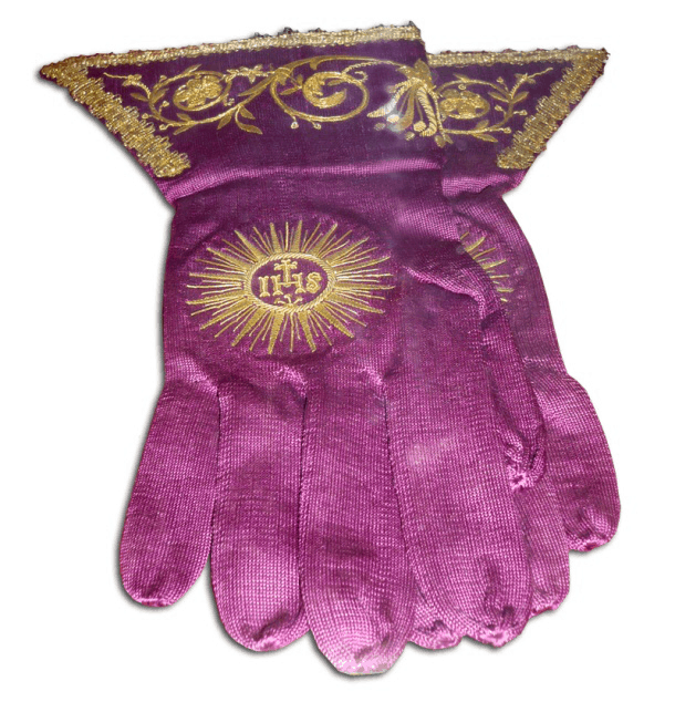 Pink religious gloves