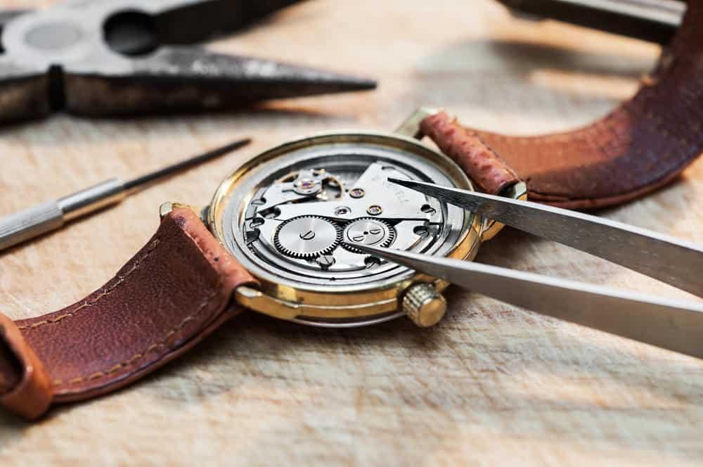 Inside an antique wristwatch
