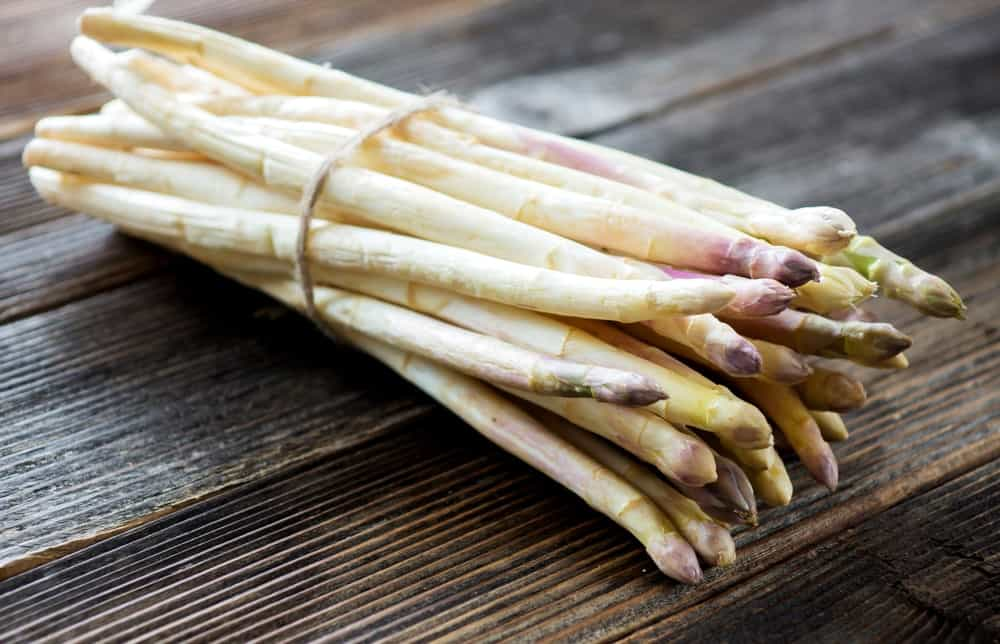 White asparagus in a bundle