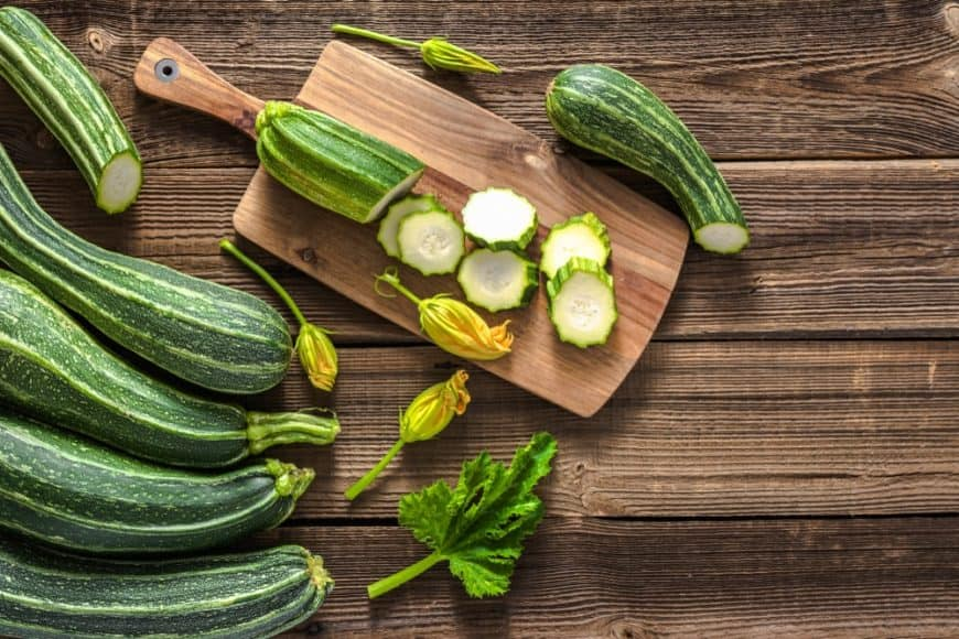 Zucchini on a Cutting Board