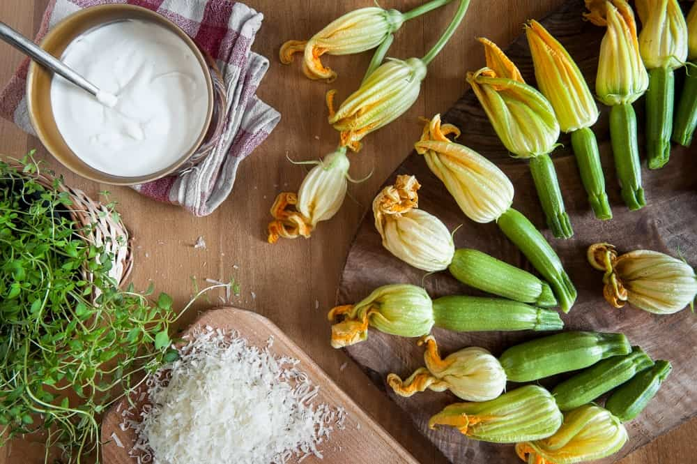 Zucchini Flowers being cooked in the kitchen