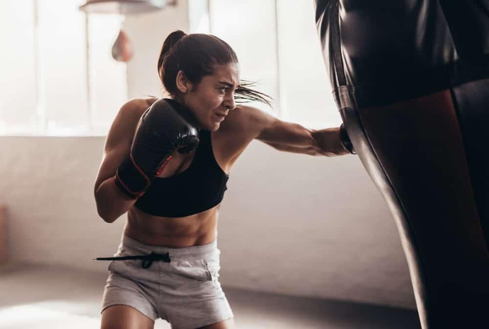 Boxer punching a bag