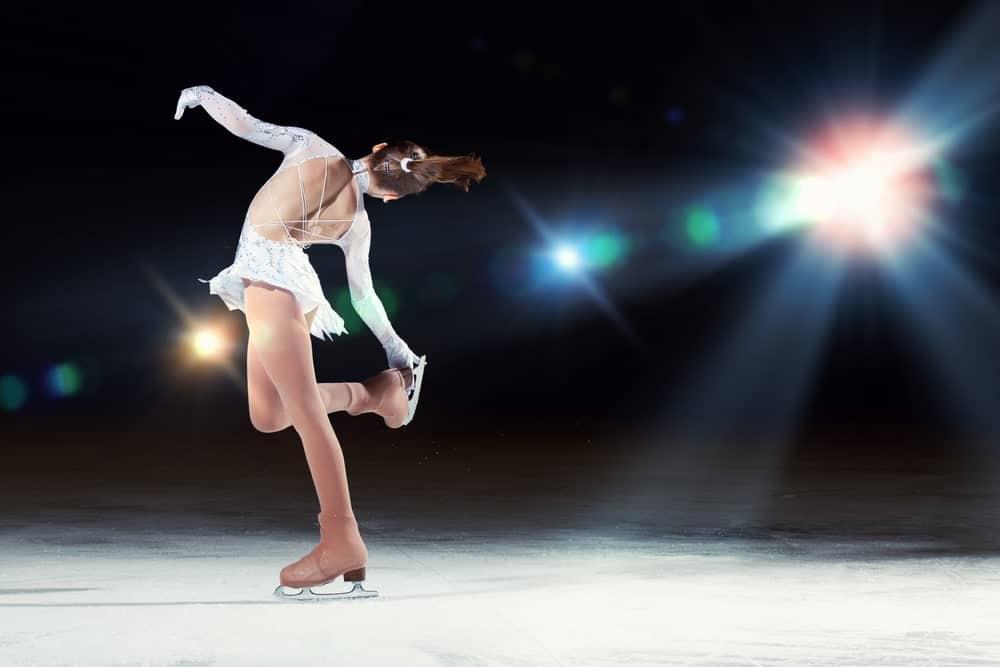 Figure skating performing tricks