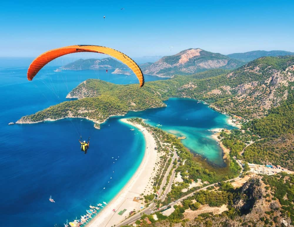 A man paragliding