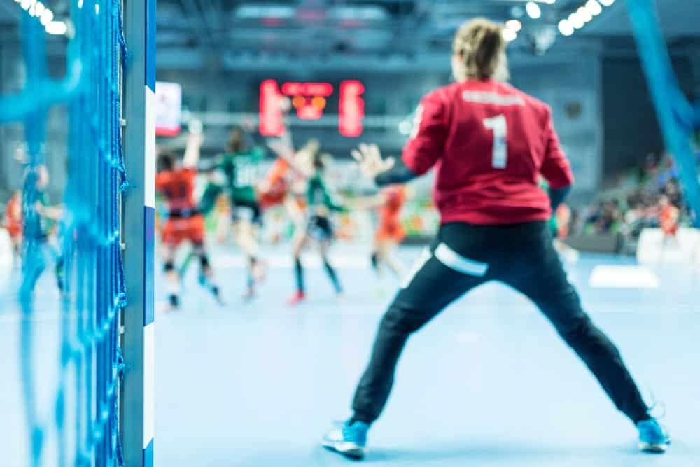 Handball maneuver in progress