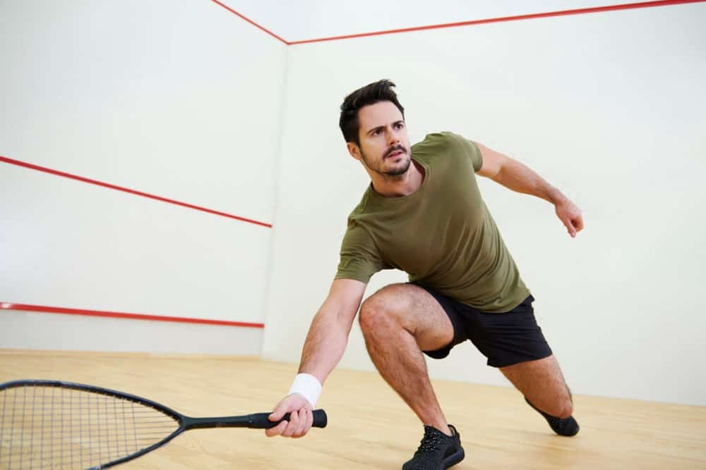 A man playing raquetball