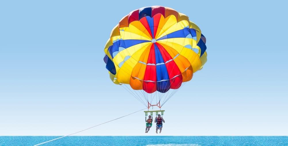 A couple parasailing