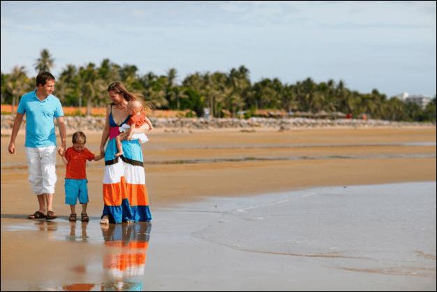 Family of Four on a Beach