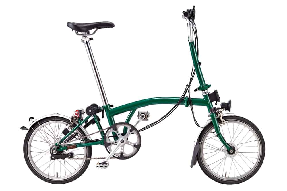 A Black and Green Folding Bike