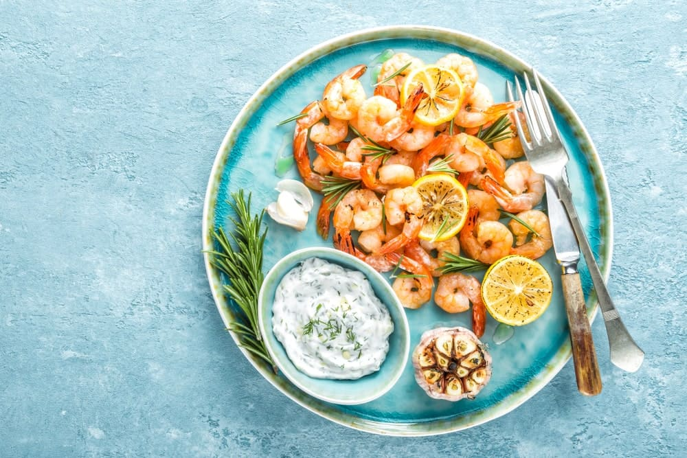 A Plate of Appetizing Shrimps and Prawns
