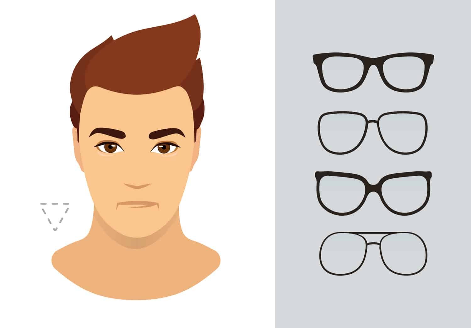 Men's glasses for inverted triangle face shape