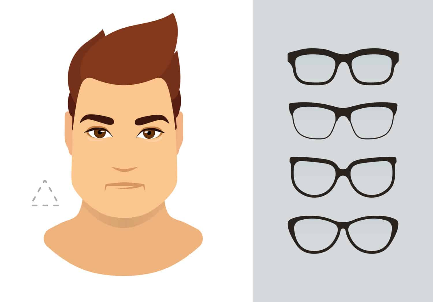 Men's glasses for triangle shaped face