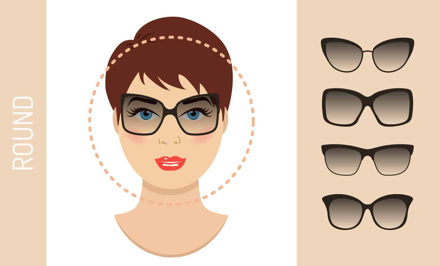Women's glasses for circle-shaped face