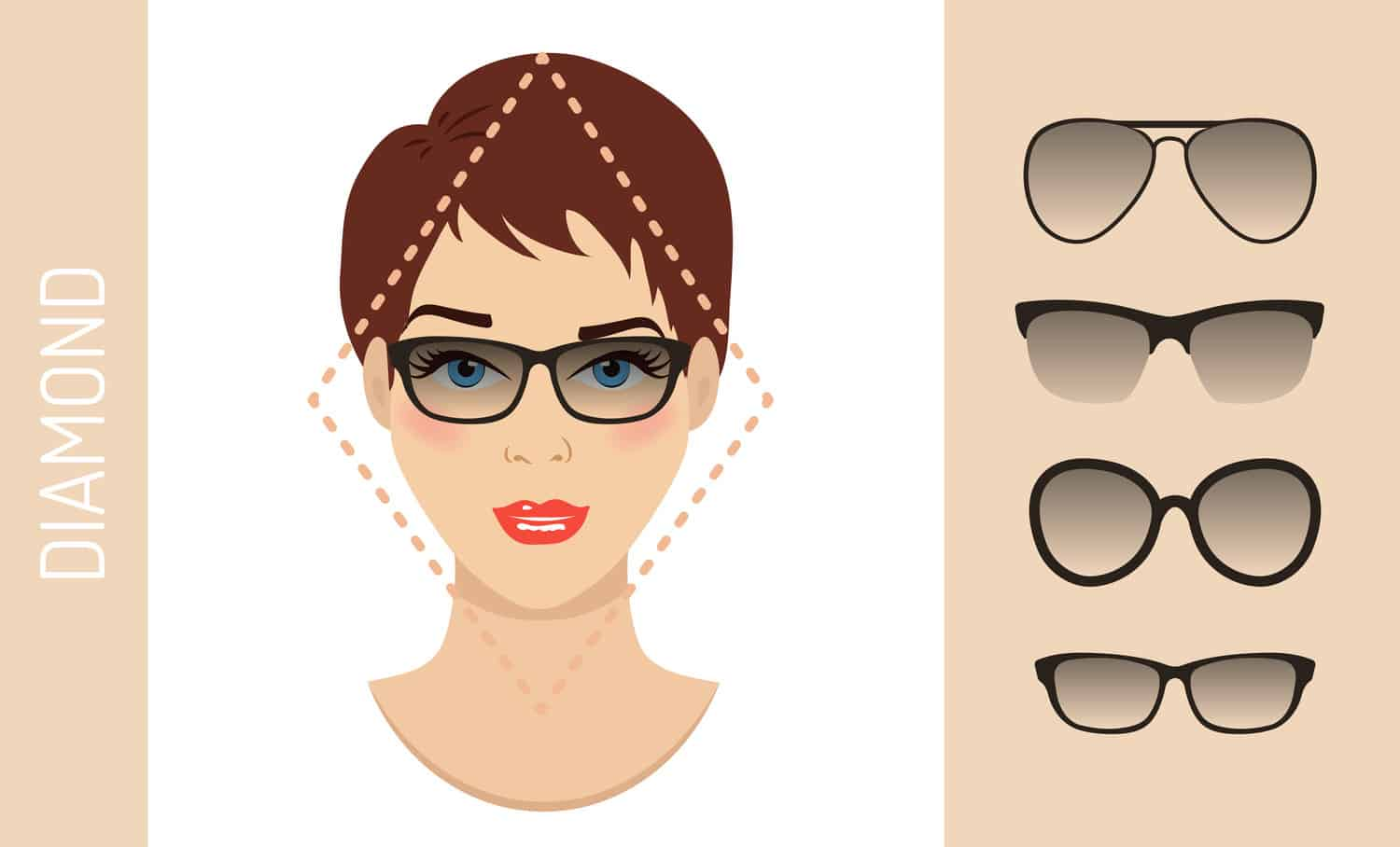 Women's glasses for diamond shaped face