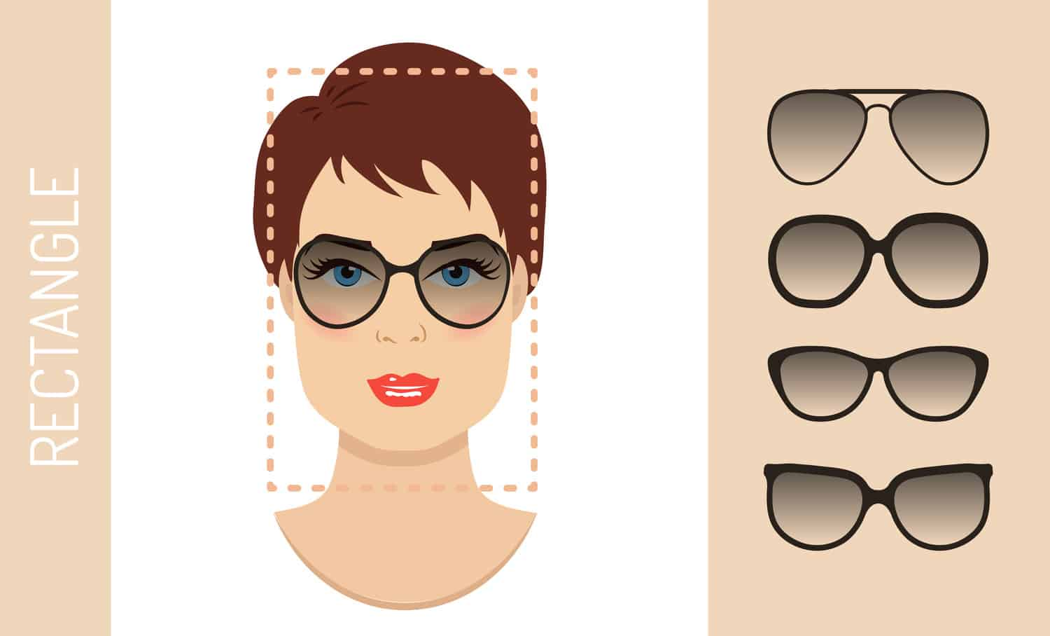Women's glasses for rectangle shaped face