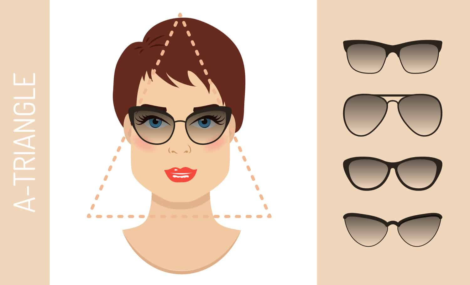 Women's glasses for triangle shaped face