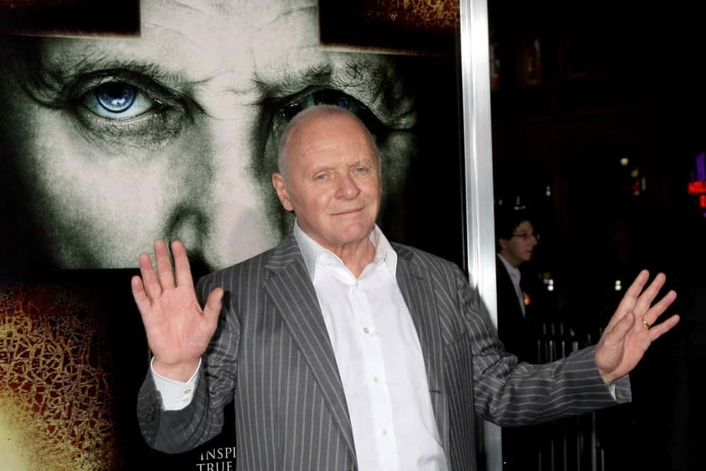 Anthony Hopkins in a striped suit at