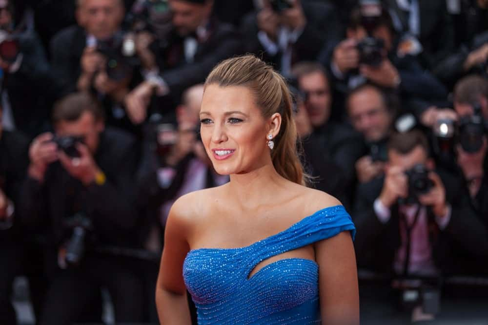 Blake Lively in a blue gown as she attends 'The BFG' premier during the 69th Annual Cannes Film Festival.