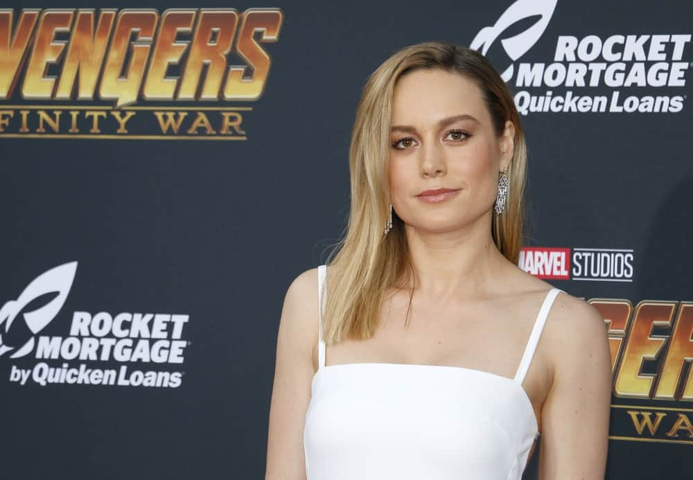 Brie Larson in white dress at the premiere of Disney and Marvel's 'Avengers: Infinity War'.
