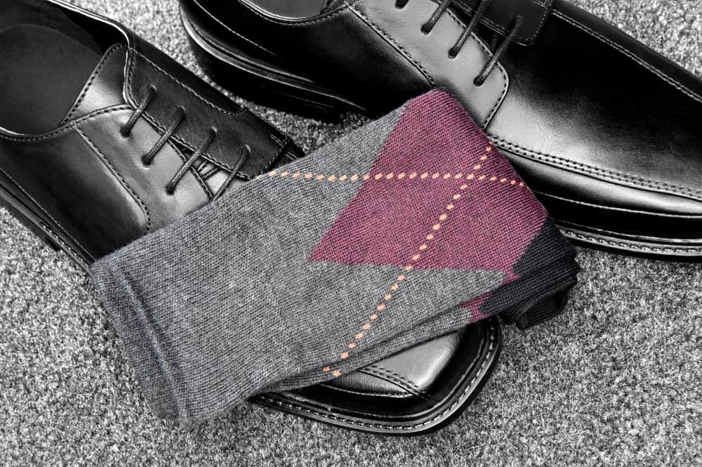 A Nice Pair of Grey Socks with formal Shoes