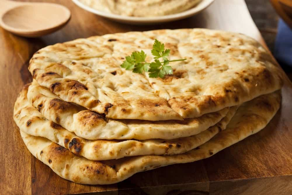 Pieces of Naan Bread.
