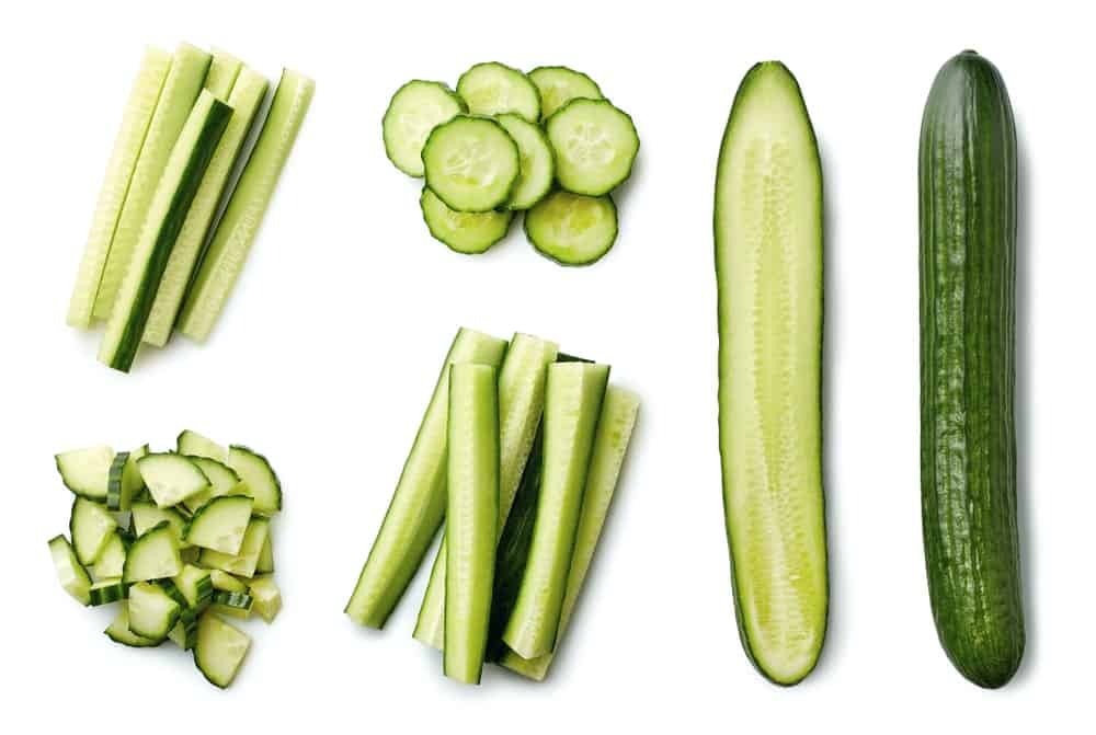Different types of slices for a cucumber.