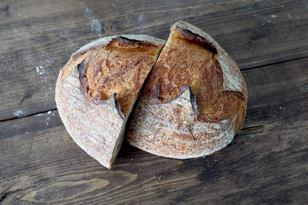Sourdough bread cut in half.
