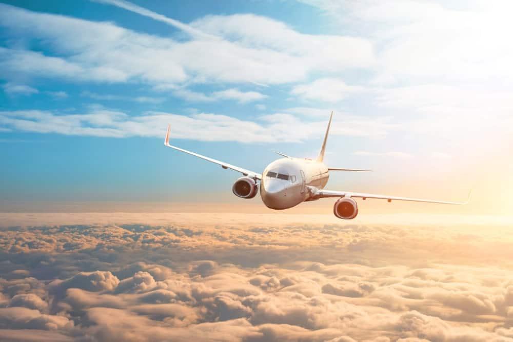 Airplane soaring through the air