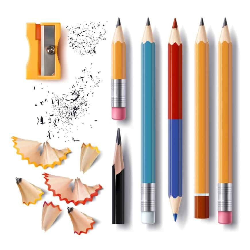 A number of colorful pencils put together with a sharpener