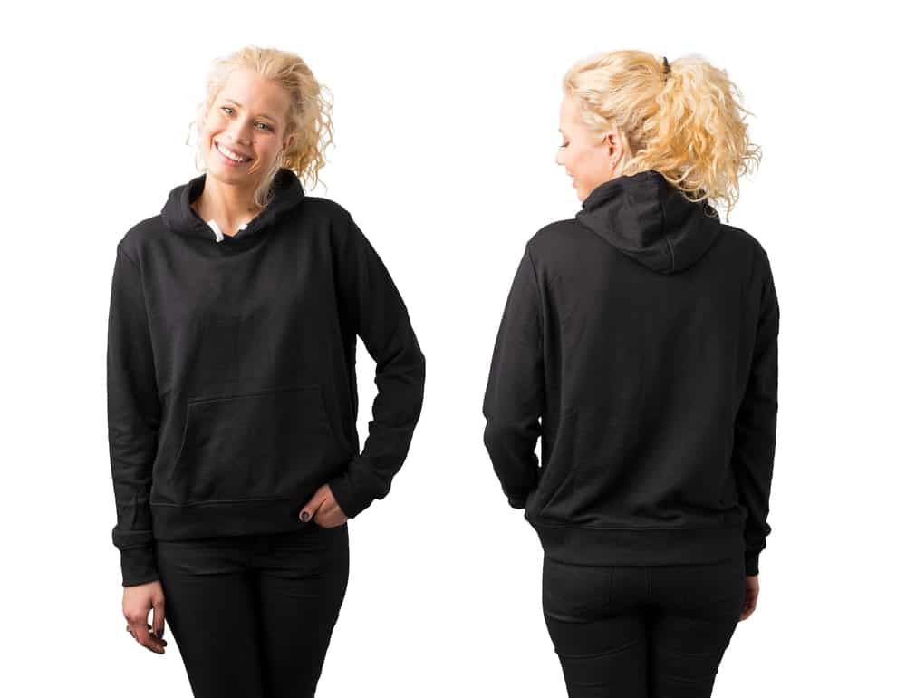 Front and back views of a woman in a black hoodie jacket posing and smiling for the camera.